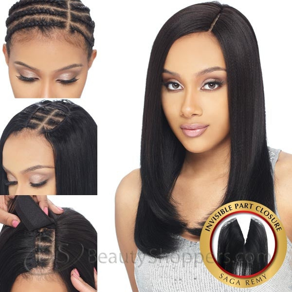 Saga Remy Human Hair Piece - INVISIBLE PART CLOSURE 10""