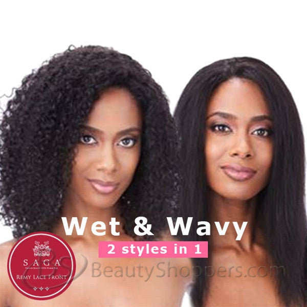 Saga Indian Remy Hair Lace Front Wig - JERRY CURL (Wet & Wavy)