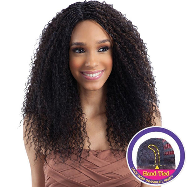 "FreeTress Equal Lace Deep Invisible ""L"" Part Lace Front Wig - STRAW CURL BRAIDS"