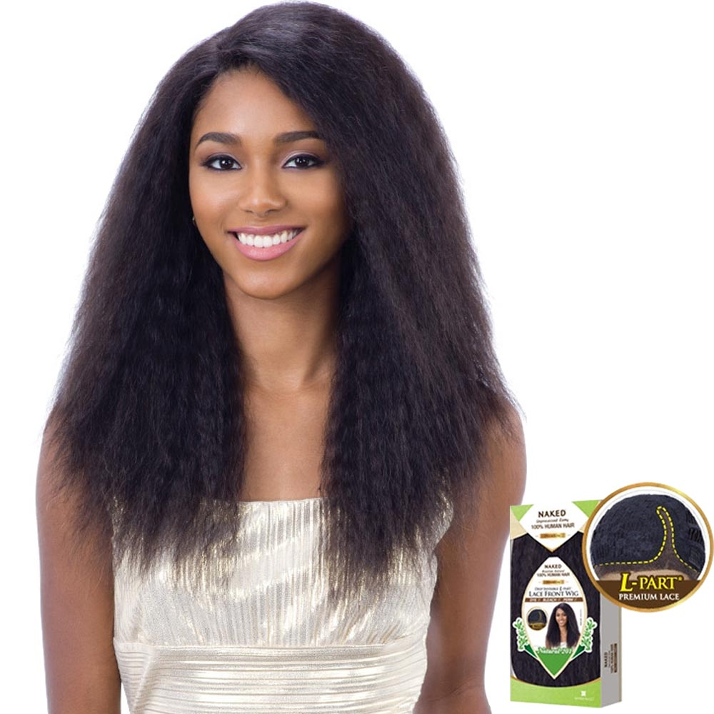 """naked unprocessed hair """"l""""-part lace front wig - natural 201"""