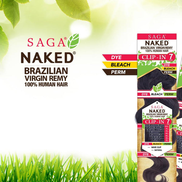 Saga Naked Unprocessed Hair Clip-in 7PCS - WAVE CLIP
