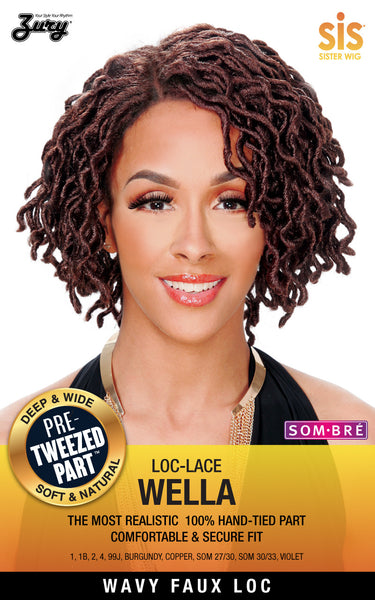 Sis Wavy Faux Locs Swiss Lace Front Wig - WELLA