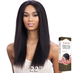 "Saga Remy Human Hair Lace Front Wig - YAKY CAP LACE 22"" (Weave+Cap)"