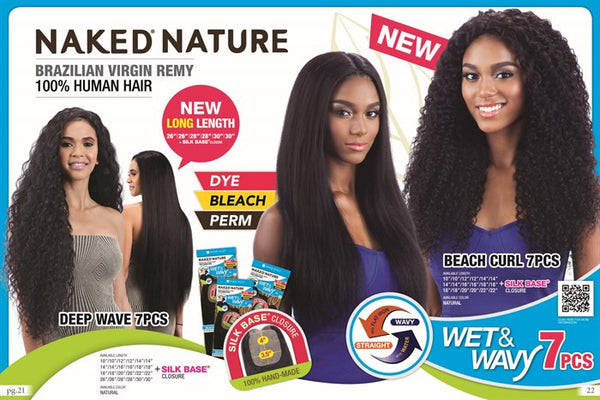Naked Nature Unprocessed Remy Wet & Wavy Hair Weave - NATURAL WAVE 7PCS
