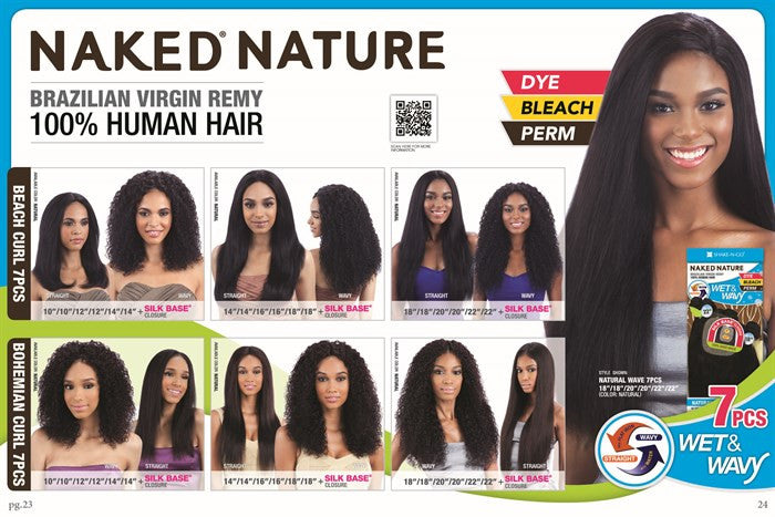 Naked Nature Unprocessed Wet Wavy Hair Beach Curl 7pcs