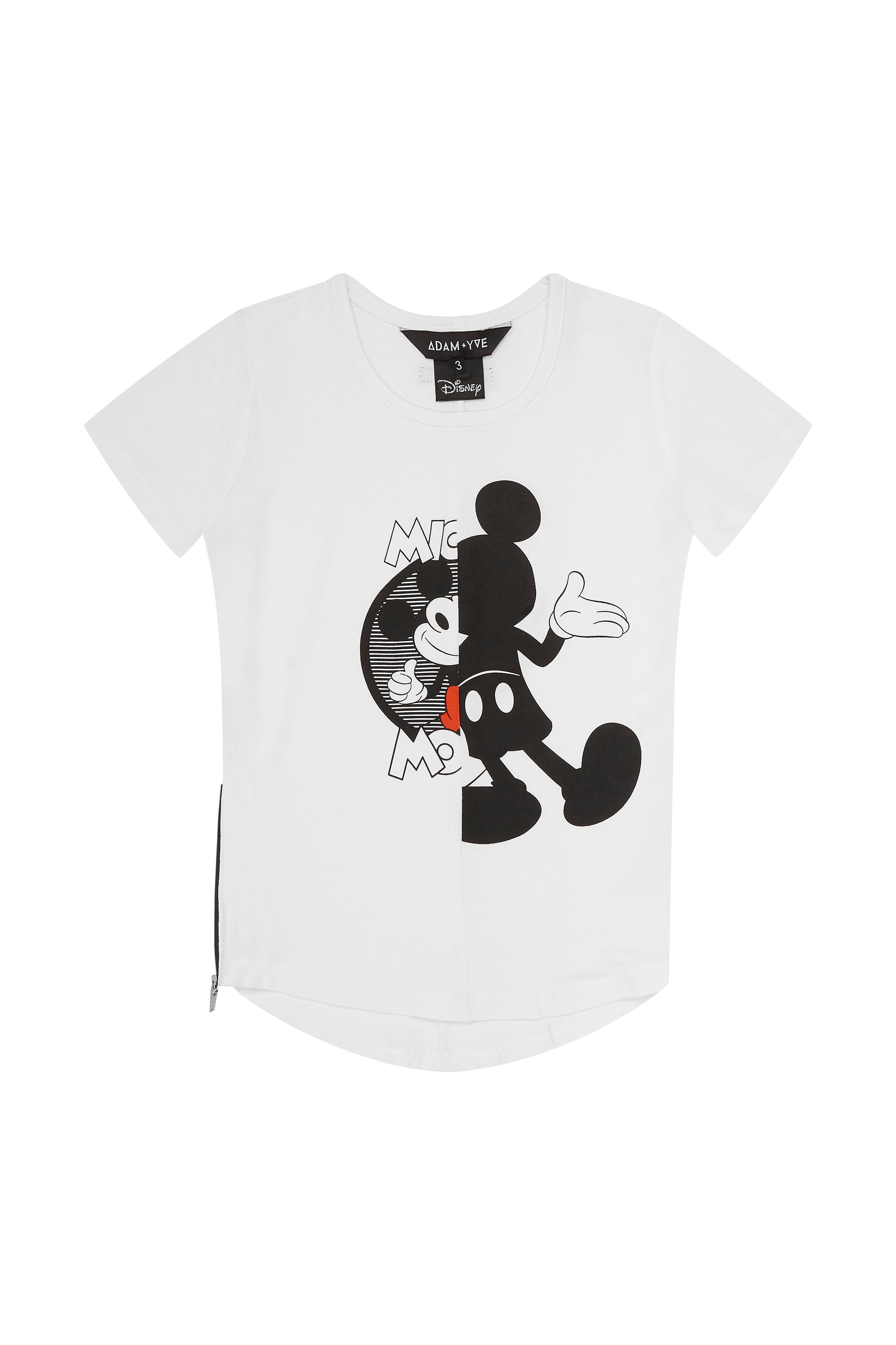 White Mickey Zip Tee