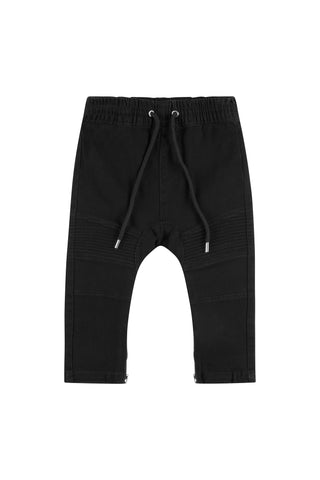 Black Denim Biker Joggers