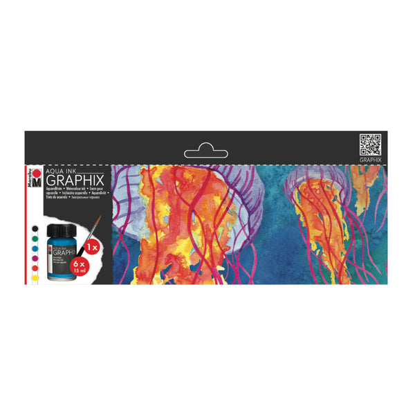 Marabu Graphix Aqua Ink - MC Floaty, Set of 6 - ArtSnacks