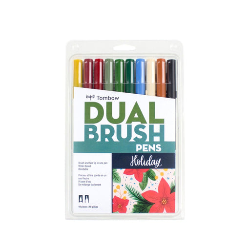 Tombow Dual Brush Pens, Holiday Set of 10 - ArtSnacks
