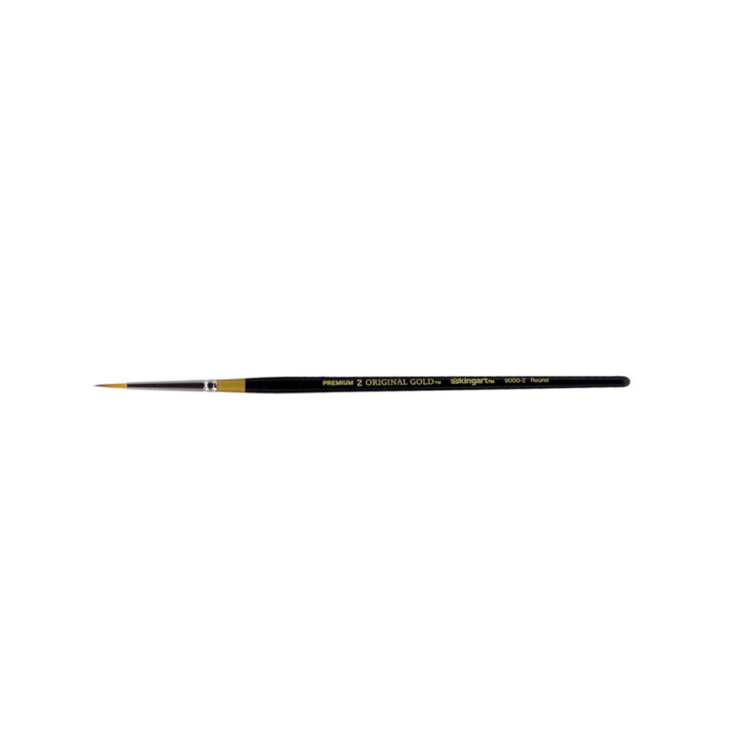 KINGART™ Original Gold 9000 Series Golden Taklon Brush, Round Size 2 - ArtSnacks