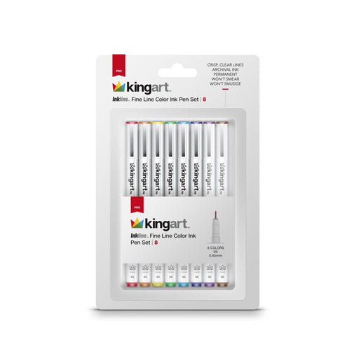 KINGART™ Inkline Fine Line Color Ink Pens, Set of 8 - ArtSnacks