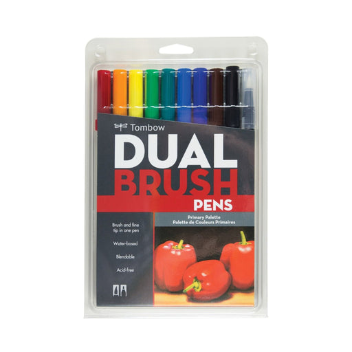Tombow Dual Brush Pens, Primary Set of 10