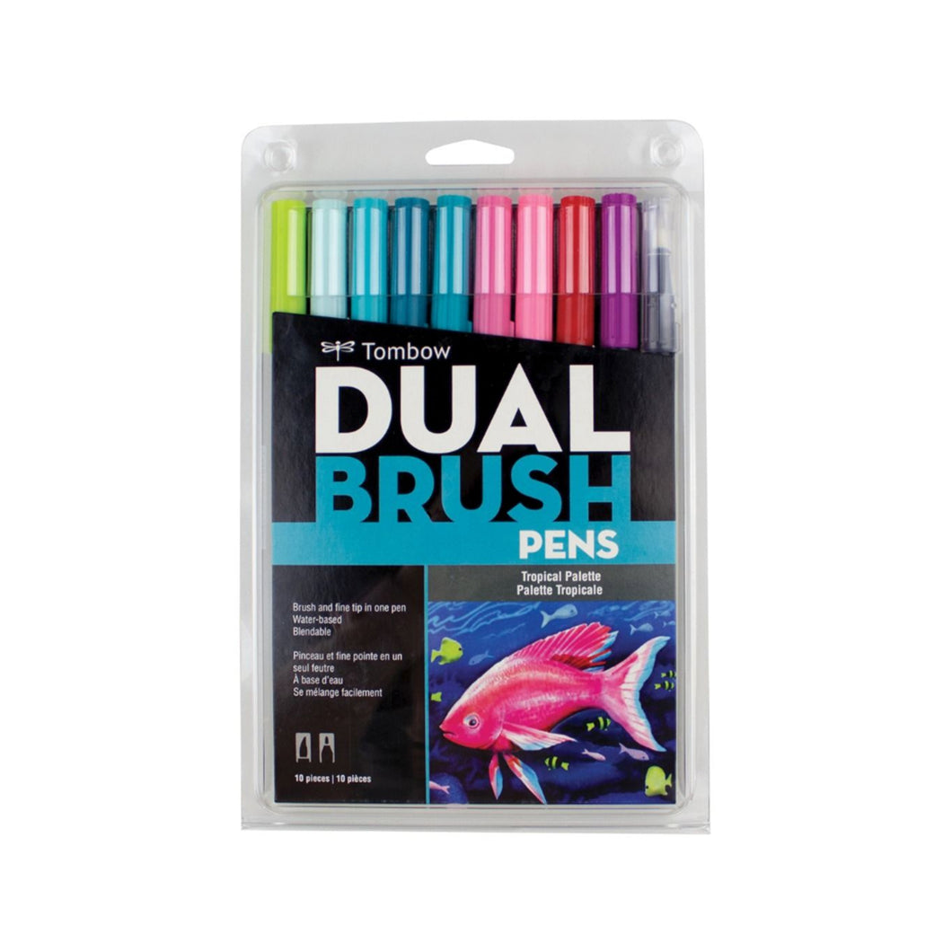 Tombow Dual Brush Pens, Tropical Set of 10 - ArtSnacks