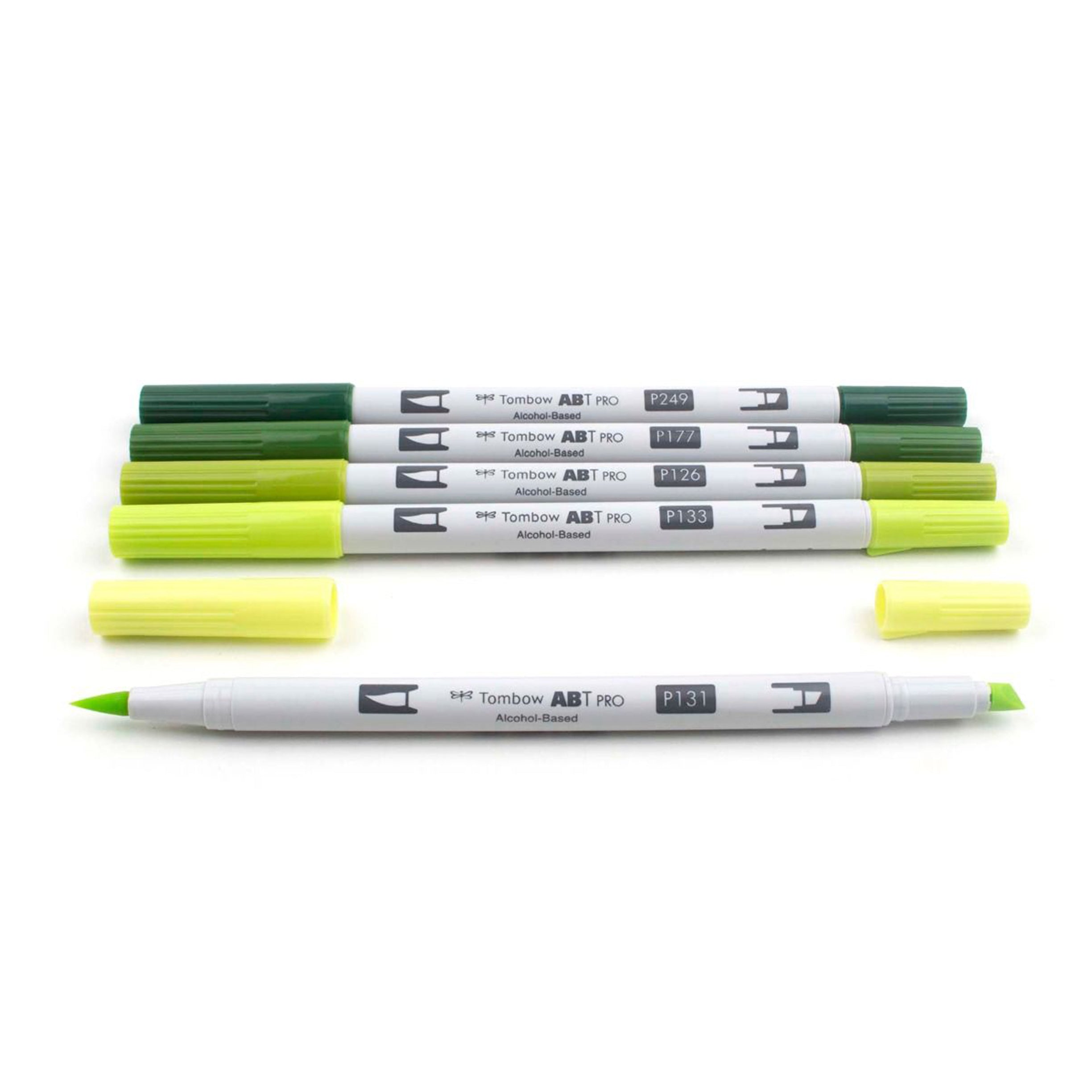 Tombow ABT PRO Alochol-Based Markers, Green Tones Set of 5
