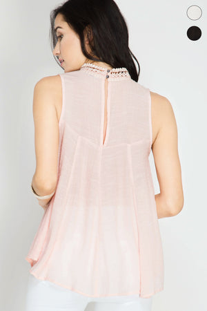Sleeveless High Neck Top