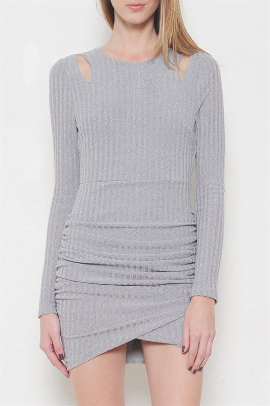 Gray Cold Shoulder Sweater Dress