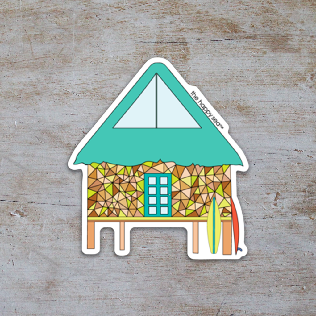 "The Happy Sea - 3"" Tiki Hut Sticker"
