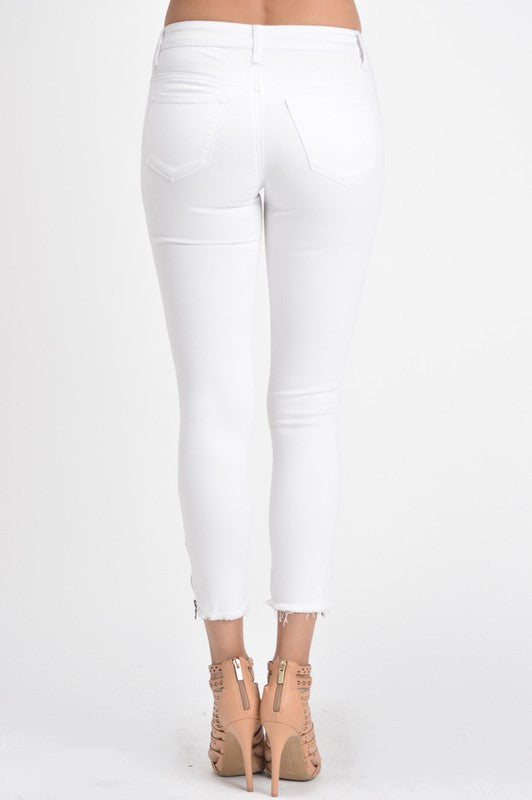 Classic Zip Jegging - White