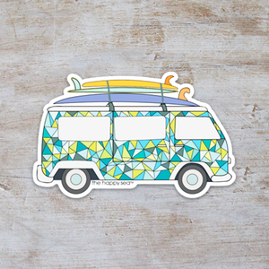 "The Happy Sea - 3.5"" VW Van Surfboard Sticker"