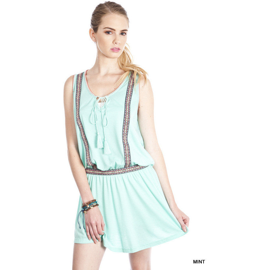 Windy Drop Waist Dress - Mint