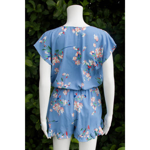 Lo Light Blue Floral Romper