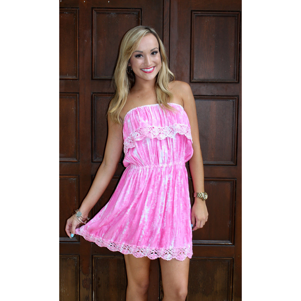 Bali Tie Dye Strapless Dress - Pink