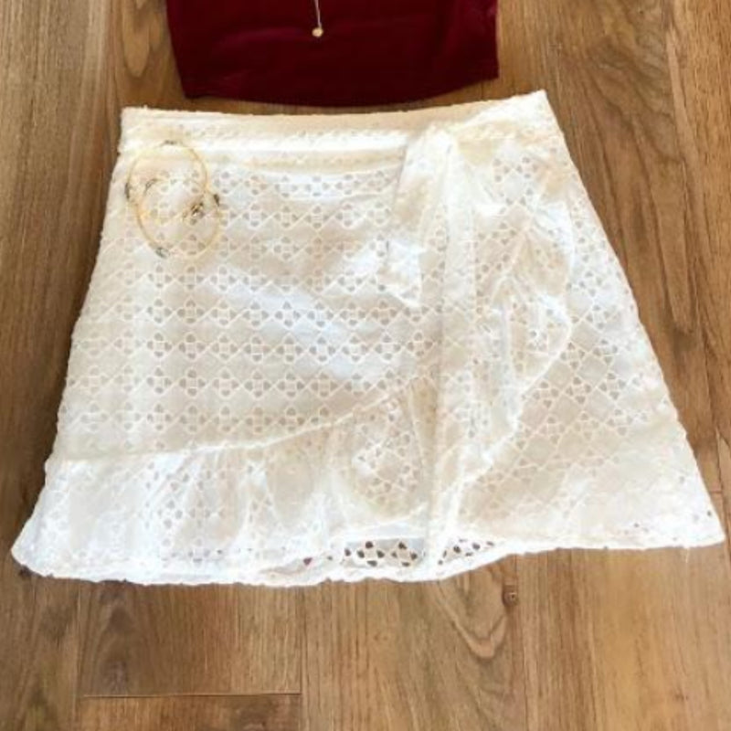 White Belted Wrap Skirt