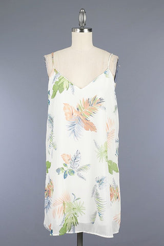 Leaf Print Open Shoulder - Coral