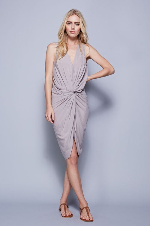 Knot Front Dress -Gray
