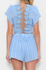 Blue Crochet Back Two Piece Set