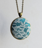 Boho Teal Lace Necklace