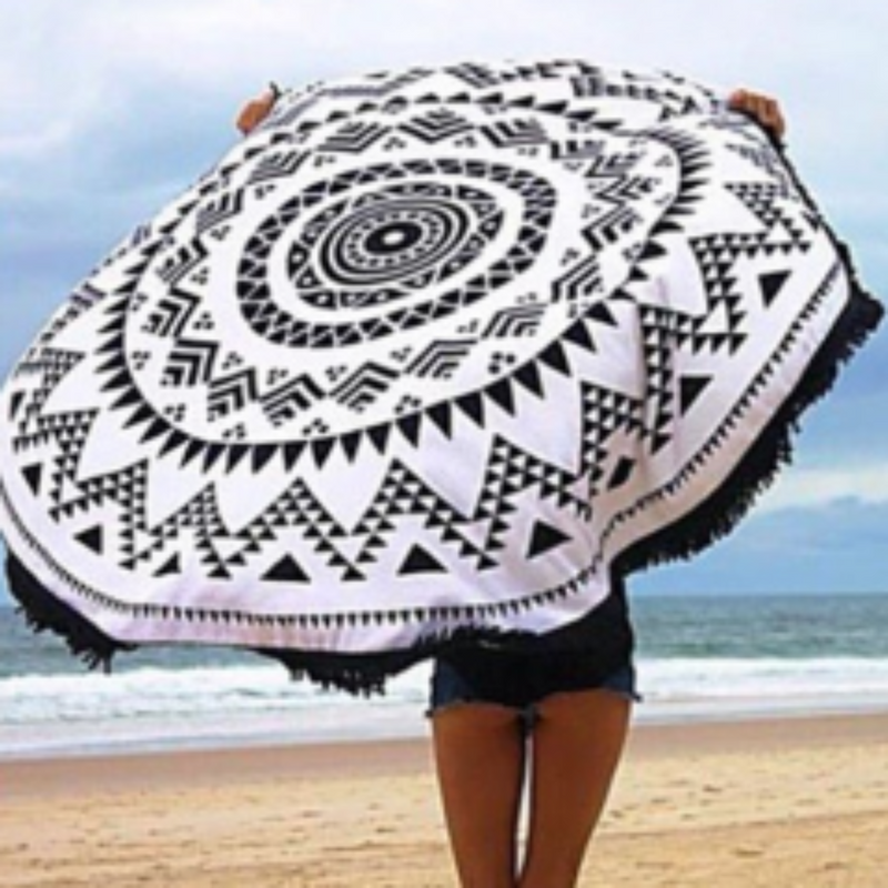 Tribal Black & White Fringe Round Beach Throw