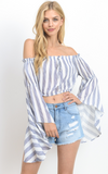 Boho Striped Bell Sleeve Crop Top