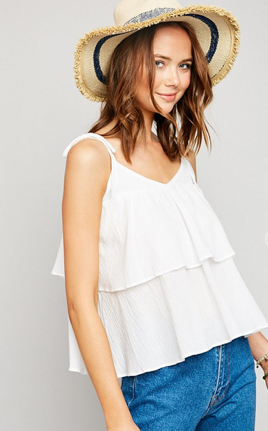 White Tiered Ruffle Tank Top