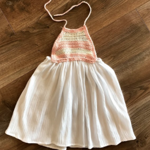 Crochet Pink & White Dress