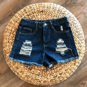 High Waist Ripped Denim Shorts - Denim Blue