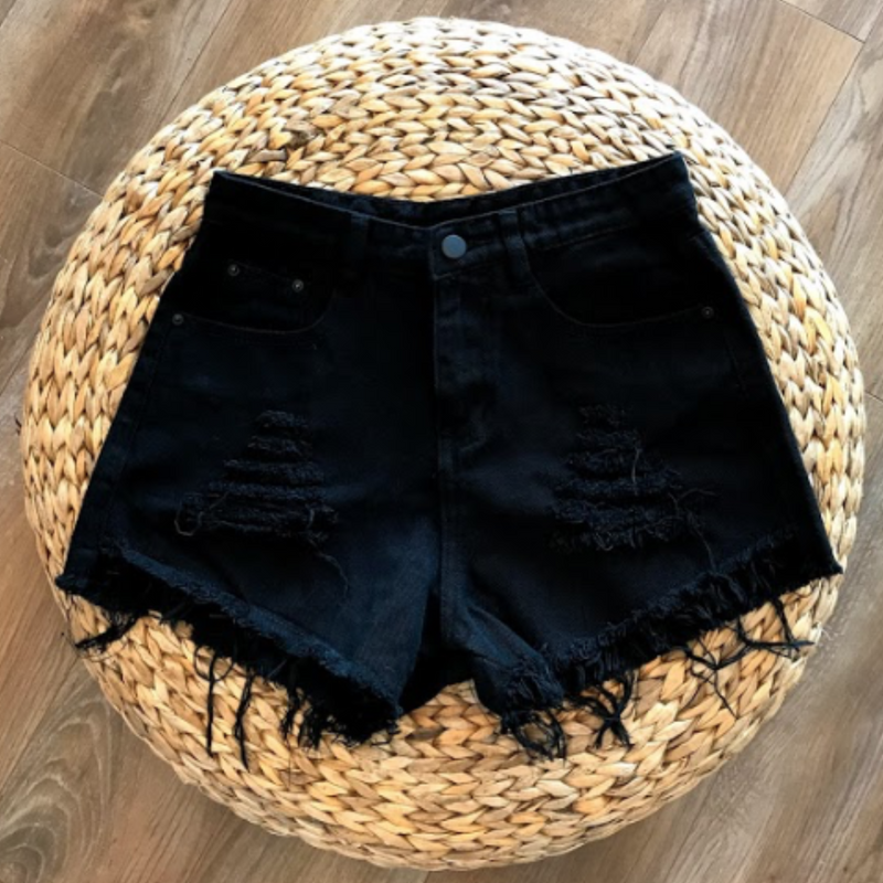 High Waist Ripped Denim Shorts - Black