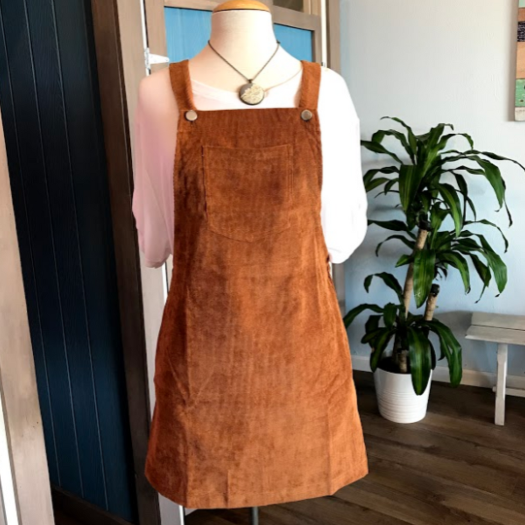 Corduroy Pinafore Dress - Camel