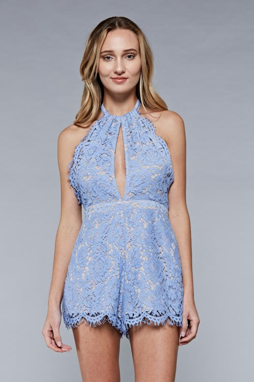 Light Blue Lace Romper