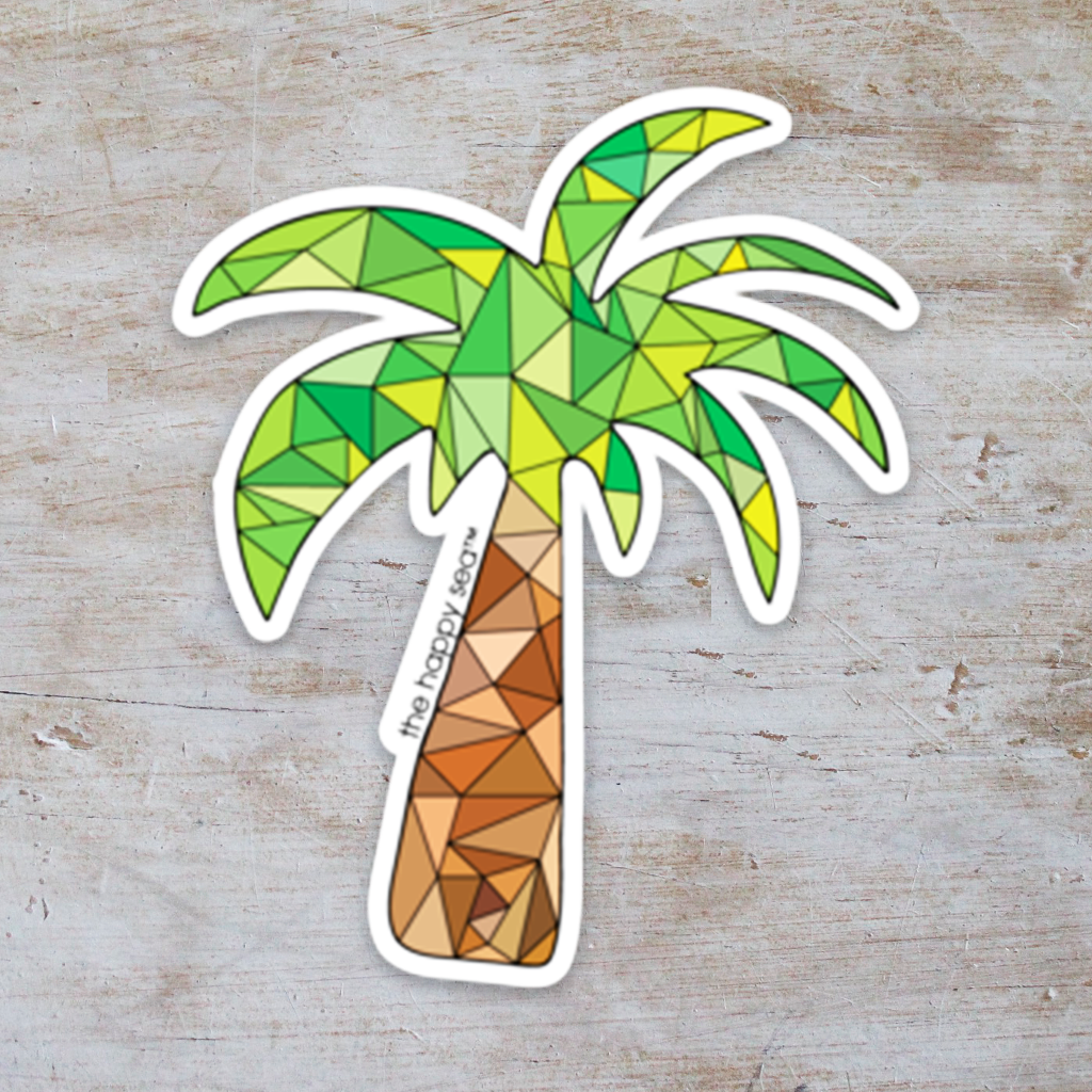 "The Happy Sea - 3"" Palm Tree Sticker"