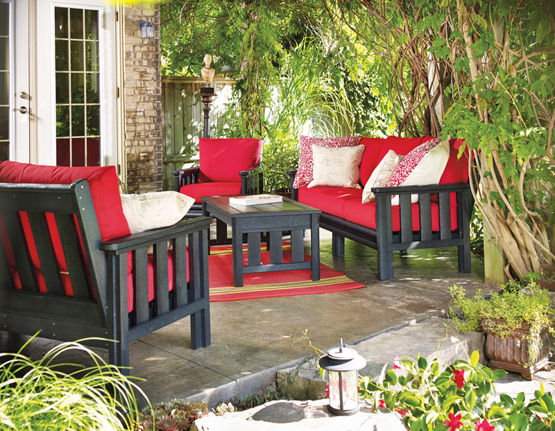 CRP Stratford Deep Seating set in black with red cushions