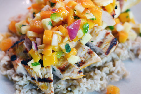 Caribbean Chicken with Mango Salsa and Coconut Rice | Barbecues Galore