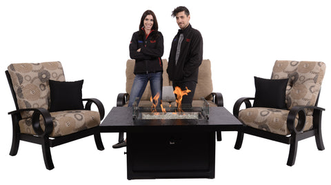 Mallin Eclipse Kamal Chestnut and Eclipse Stone with Fire Table