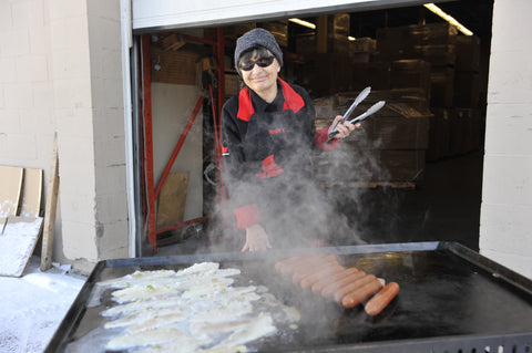 Sonya grilling up fish tacos on the Brander Chuckwagon griddle.