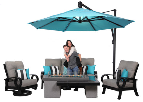 Mallin Eclipse Sun Linen Slate with Aqua Cantilever Umbrella and Outdoor Greatroom Uptown fire table