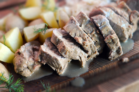 German Senfbraten Pork Tenderloin in Mustard Gravy