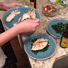 When the tilapia is cooked, assemble your dish!