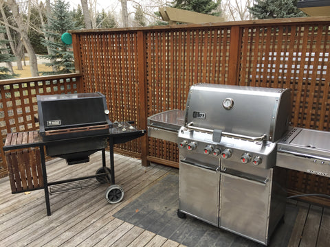 Two barbecues on a deck