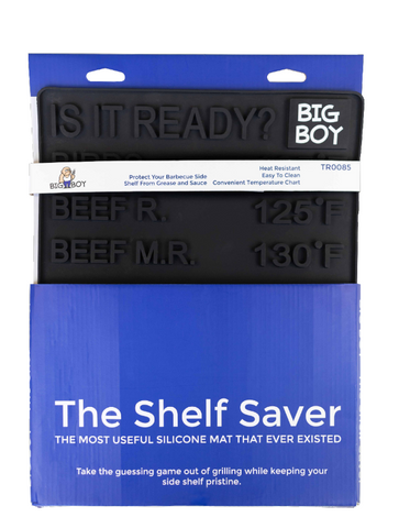The shelf saver, side shelf mat, with temperatures, barbecues galore