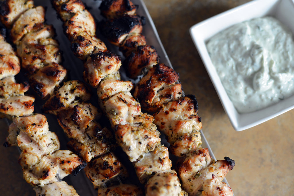 Grilled Chicken Souvlaki Skewers with Homemade Tzatziki Recipe